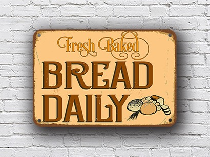 fresh bread sign