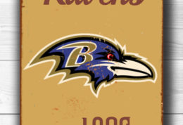 BALTIMORE RAVENS Sign Vintage style Baltimore Ravens Est. 1996 Composite Aluminum Baltimore Ravens Sign in team colors SPORTS Fan Sign