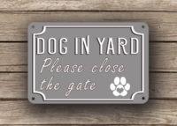 Gray Dog In Yard Sign