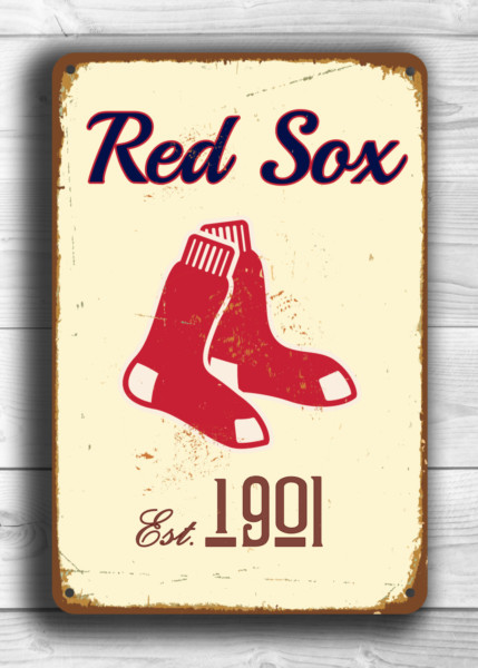 BOSTON RED SOX Sign Vintage style Boston Red Sox Est. 1901 Composite Aluminum Boston Redsox Sign in team colors Baseball Sign Boston Redsox