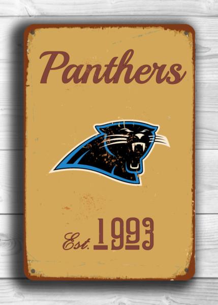 CAROLINA PANTHERS Sign Vintage style Carolina Panthers Sign Est. 1993 Composite Aluminum Vintage Carolina Panthers Sign FOOTBALL Fan Sign
