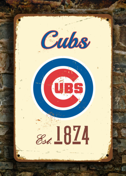 Chicago Cubs Sign Vintage Style Classic Metal Signs