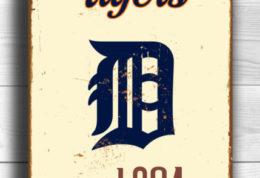 DETROIT TIGERS Sign Vintage style Detroit Tigers Est. 1894 Composite Aluminum Detroit Tigers in team colors Tigers Sign Sports Fan Sign