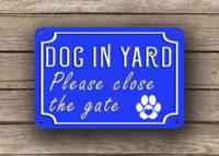 Blue Dog In Yard Sign