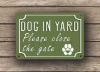 Green Dog In Yard Sign