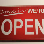 Red Come In We're Open Sign