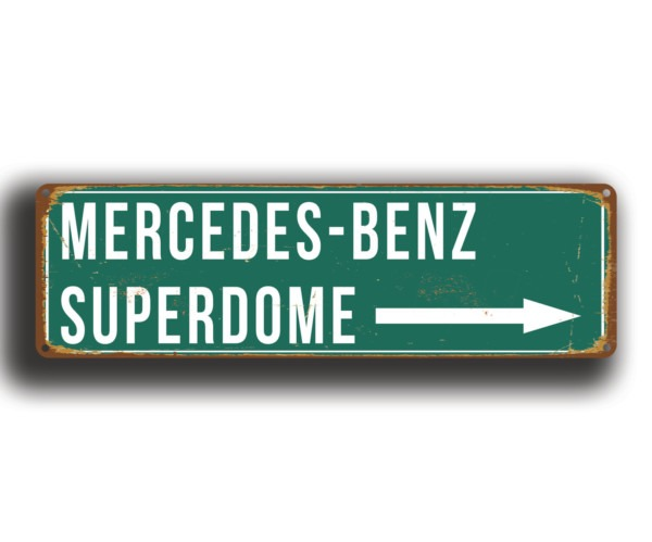Mercedes benz superdome stadium sign vintage style for Mercedes benz sign in