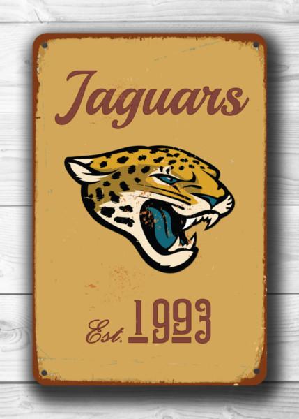 JACKSONVILLE JAGUARS Sign Vintage style Jacksonville Jaguars Sign Est. 1993 Composite Aluminum Vintage Jacksonville Jaguars Sports Fan Sign