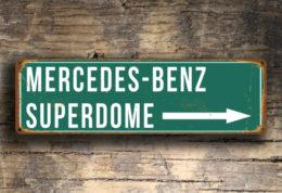 Mercedes Benz Superdome Stadium Sign Vintage Style