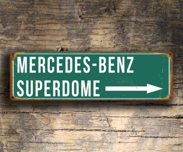 Mercedes Benz Superdome Stadium Sign Vintage Style