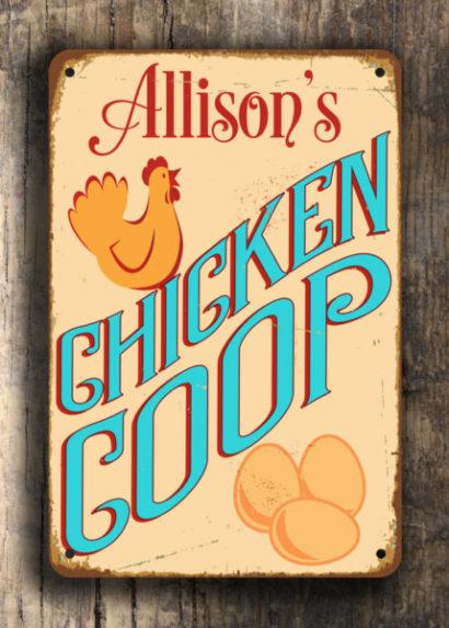 Personalized CHICKEN COOP SIGN Custom Chicken Coop Sign Vintage style Aluminum Composite Metal Chicken Coop Sign Chicken Coop Signs Coop