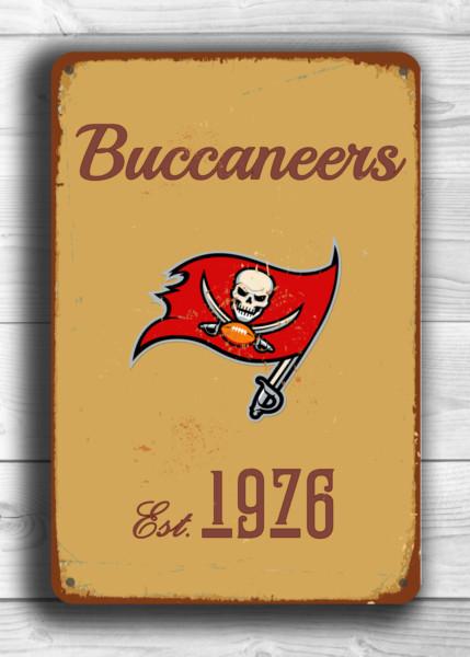TAMPA BAY BUCCANEERS Sign Vintage style Tampa Bay Buccaneers Est. 1976 Composite Aluminum Vintage Tampa Bay Buccaneers Sign Sports Fan Sign
