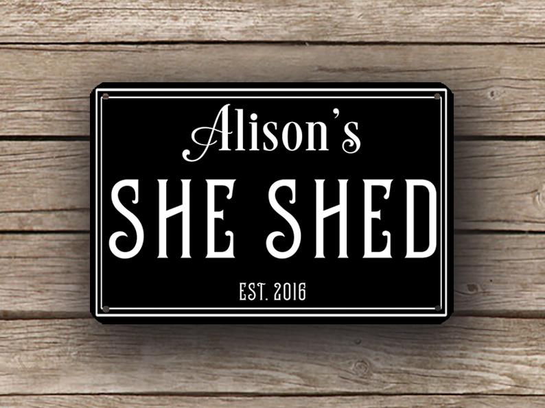 Black She Shed Sign