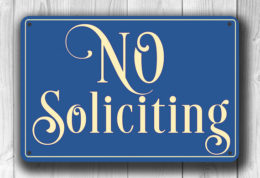 Blue No Soliciting Sign