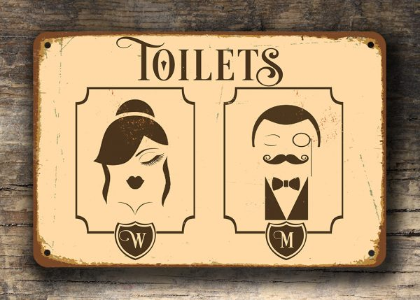 Vintage toilet sign art deco toilet sign toilet door for Bathroom designs 12x8