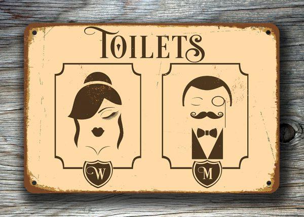 Vintage Toilet Sign Art Deco Toilet Sign Toilet Door