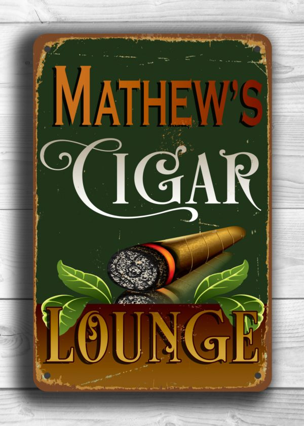 Personalized Cigar Lounge Sign Classic Metal Signs