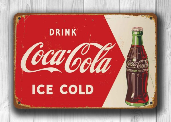coca cola sign vintage style coca cola classic metal signs. Black Bedroom Furniture Sets. Home Design Ideas