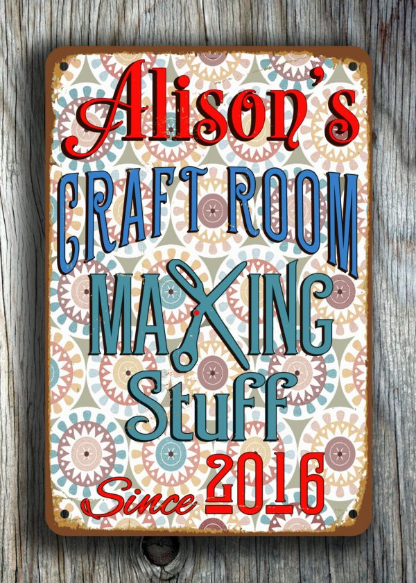 PERSONALIZED CRAFT ROOM Sign Classic Metal Signs
