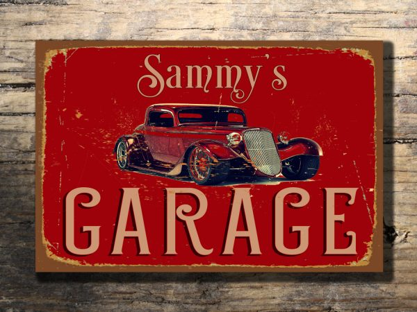 Personalized Garage Signs : Personalized garage sign hot rod signs classic metal