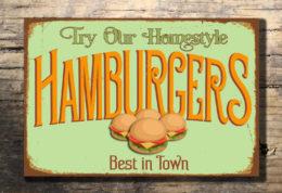 HAMBURGERS RESTAURANT SIGN