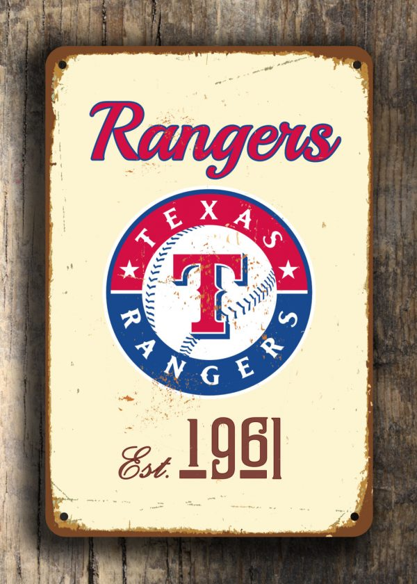 Texas Rangers Sign Classic Metal Signs