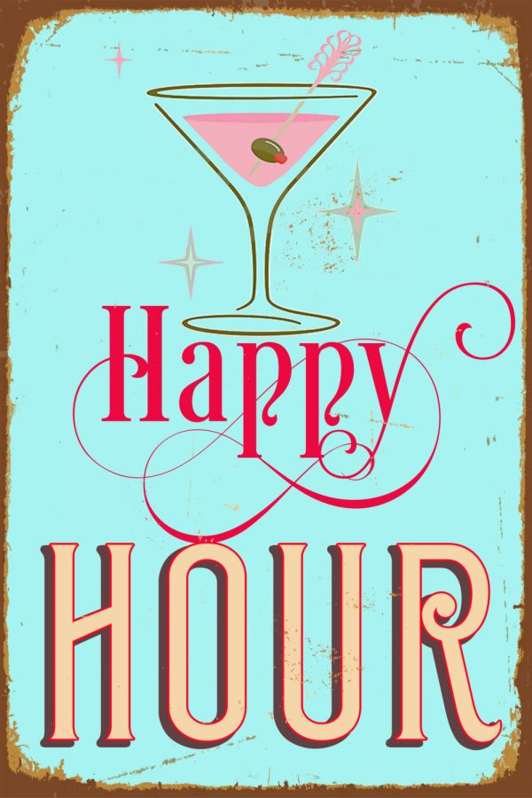 Vintage happy hour sign