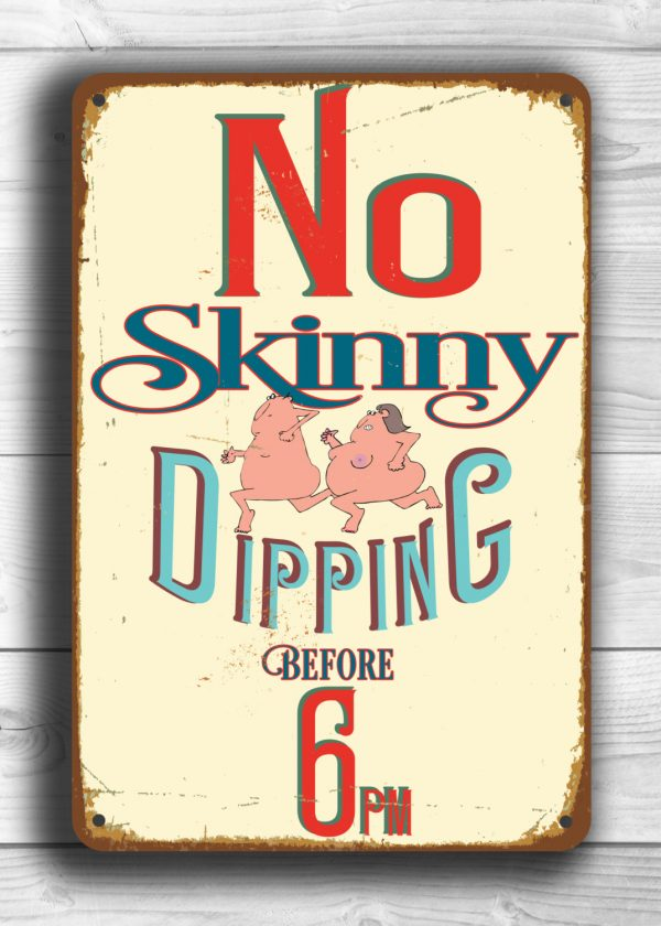 No Skinny Dipping Sign Funny Pool Signs Classic Metal