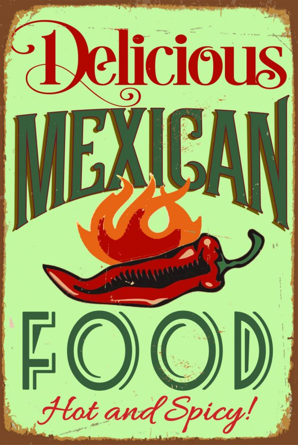 Vintage Style Mexican Food Sign Classic Metal Signs