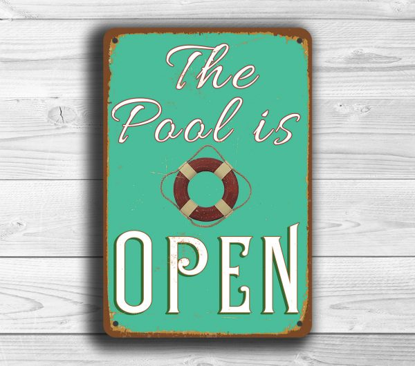 pool is open sign classic metal signs
