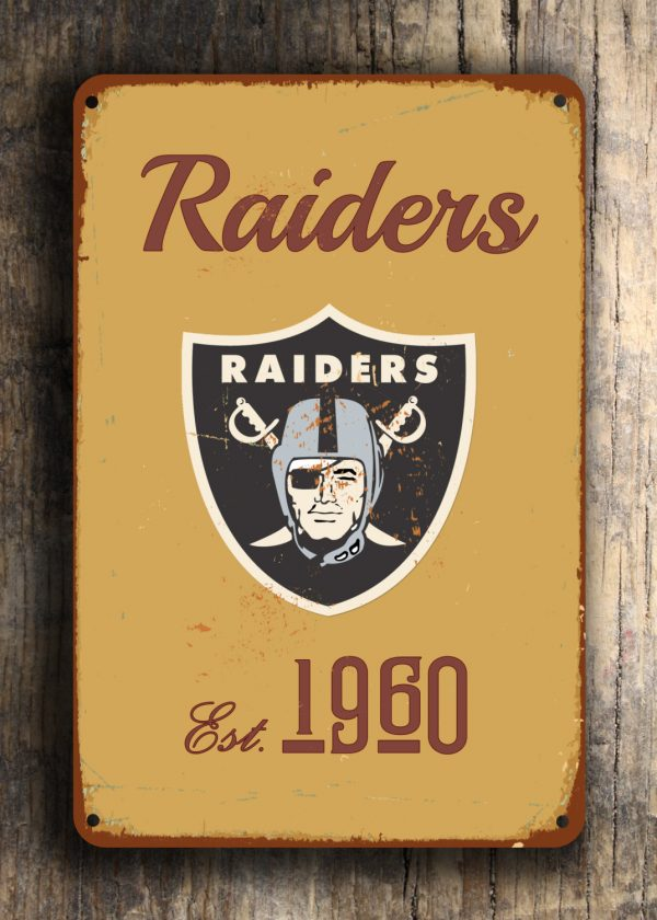 Oakland Raiders Logo Sign Football Signs Classic Metal Signs