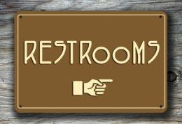 Restroom Direction Sign pointer