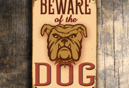 Vintage style Beware dog Sign