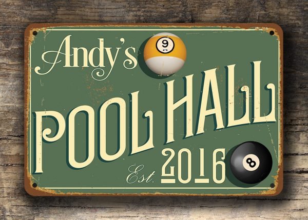 Vintage style Pool Hall Sign