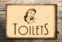 Vintage style Toilets Directional Sign