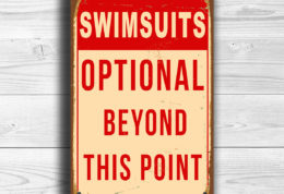 SWIMSUITS OPTIONAL POOL Sign