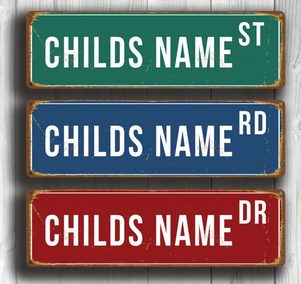 Personalized Childs Name Street Sign