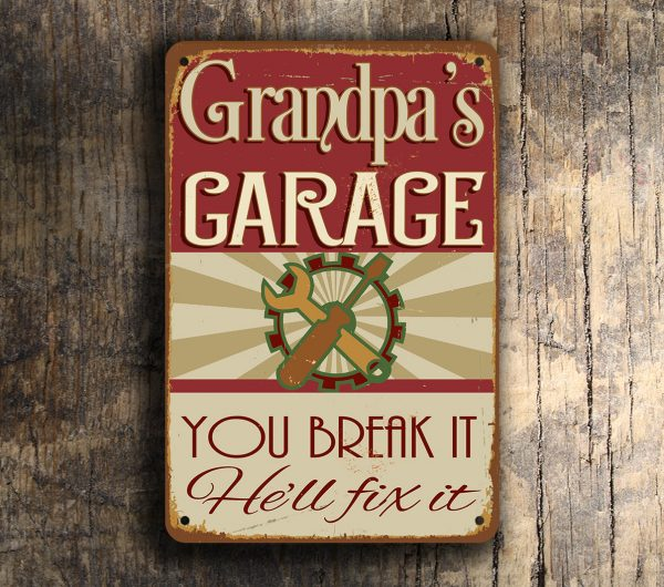 Grandpas Garage Sign Classic Metal Signs