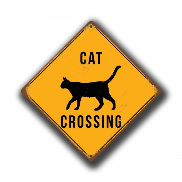 Cat Crossing Sign Yellow Cat Crossing Signs Classic