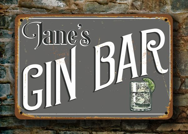 Gin bar sign personalized classic metal signs