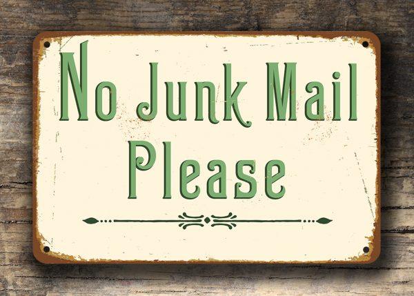 No Junk Mail Sign No Junk Mail Door Sign Classic Metal