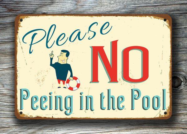 No Peeing Pool Sign