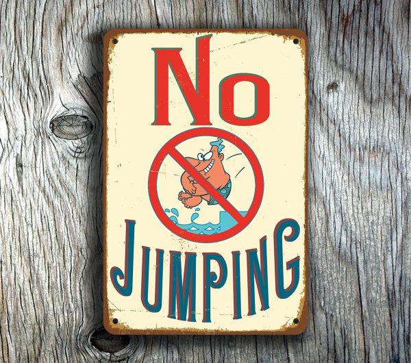 No Jumping Pool Sign