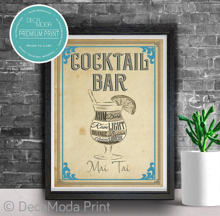 Mai Tai Cocktail Diagram Print