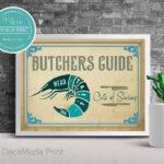 Shrimp Meat Cuts Butcher Print