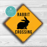 Classic Metal Signs, – Rabbit Crossing Sign