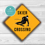 Classic Metal Signs – Skier Crossing Sign 2