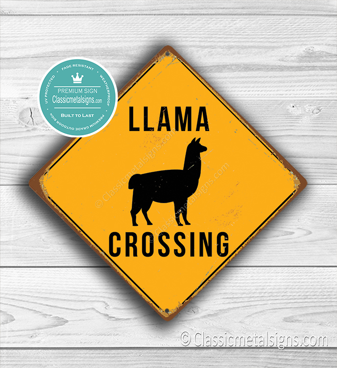 Llama Crossing Sign
