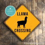 Llama Crossing Sign