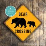 Classic Metal Signs Bear Crossing Sign 1